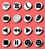 Conexión de los símbolos, email, juego, pausa, teléfono, SE de la comunicación stock de ilustración