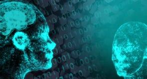 Conexión de red Mesh Of Human Head With Brain On Binary Code Imagen de archivo libre de regalías