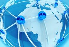 Conexión de red y trabajo en equipo sociales, mundo 3d Imagen de archivo libre de regalías