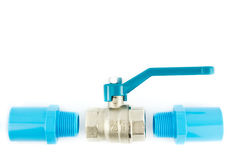 Conexión de tubo azul del pvc con la válvula Fotografía de archivo