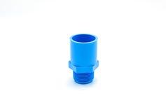 Conexión de tubo azul del pvc con la válvula aislada en blanco Fotografía de archivo libre de regalías