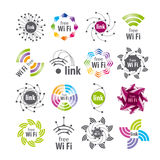 Conexión de Wifi de los logotipos del vector Fotografía de archivo