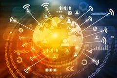 Conexión de Wifi en la tierra del mundo Imagen de archivo libre de regalías