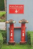 Conexión del cuerpo de bomberos dos en hierba verde Imagen de archivo libre de regalías