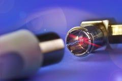 Conexión del laser de los cables coaxiles Imagenes de archivo