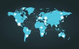 Conexión del mapa del mundo Fotos de archivo
