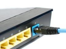 Conexión del router de Ethernet Fotos de archivo