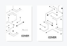 Conexión del vector y red social Modelo de la tecnología de los hexágonos stock de ilustración