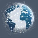 Conexión digital del globo, comunicaciones de Digitaces Fotos de archivo libres de regalías