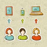 Conexión global de los dispositivos móviles en estilo del bosquejo Fotos de archivo