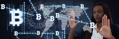 Conexión gráfica de los iconos del bitcoin conmovedor de la empresaria Fotos de archivo