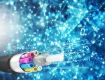 Conexión a internet con la fibra óptica Concepto de Internet rápido stock de ilustración