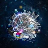 Conexión mundial de Internet rápido con la fibra óptica libre illustration