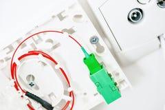 Conexión que contiene a la fibra óptica Foto de archivo