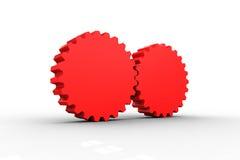 Conexión roja del diente y de la rueda Fotografía de archivo libre de regalías