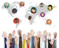 Conexión social Conce del establecimiento de una red de la comunidad de la gente global del mundo Imagenes de archivo