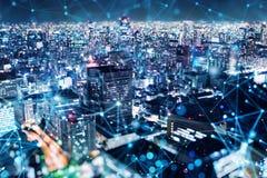 Conexi?n r?pida en la ciudad en la noche Fondo abstracto de la tecnolog?a libre illustration