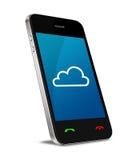 Conexión computacional de la nube en el teléfono móvil Fotografía de archivo