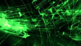 Conexiones abstractas del átomo del plexo a través del hilo con verde de las partículas stock de ilustración