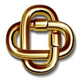 Conexiones de cadena del oro conectadas juntas en la unidad Imágenes de archivo libres de regalías