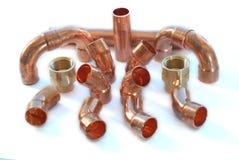 Conexiones de cobre de la fontanería Fotografía de archivo