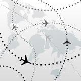 Conexiones de los planes de recorrido del vuelo del aeroplano del mundo Imagen de archivo libre de regalías