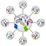 Conexiones de red de comunicación de la gente Imágenes de archivo libres de regalías