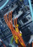 Conexiones de red de la óptica de fibras Imagenes de archivo
