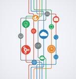 Conexiones de red, flujo de información con los iconos. Foto de archivo libre de regalías