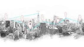 Conexiones del paisaje urbano y de red del estilo del bosquejo metrajes