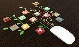 Conexiones del ratón del ordenador Imagenes de archivo