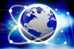 Conexiones globales. Tierra de Digitaces Fotos de archivo