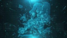 Conexiones 4K de las ciudades del fondo del mapa de Europa stock de ilustración