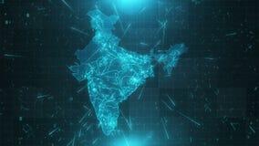 Conexiones 4K de las ciudades del fondo del mapa de la India almacen de video