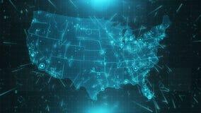 Conexiones 4K de las ciudades del fondo del mapa de los E.E.U.U. almacen de video