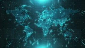 Conexiones 4K de las ciudades del fondo del mapa del mundo stock de ilustración
