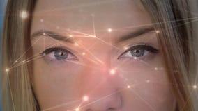 Conexiones ligeras moviendo encendido un fondo con las mujeres que se abren los ojos libre illustration