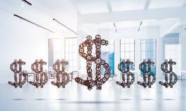 Conexiones y conceptos del establecimiento de una red como medios de la ganancia del dinero encendido Foto de archivo