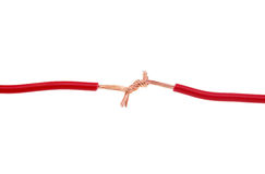 A conexão vermelha do fio Foto de Stock