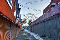 Coney Island Attraction Park, Winter Royalty Free Stock Images
