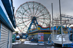 Coney Island Attraction Park, Winter Stock Images
