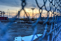 Coney Island Attraction Park, Winter Royalty Free Stock Photo