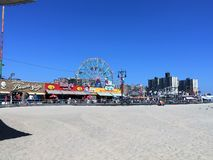 Coney Island beach. Coney island day view on amusement park Stock Images