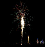 Coney Island Beach Fireworks Stock Photo
