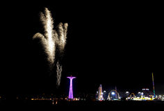 Coney Island Beach Fireworks Royalty Free Stock Photo