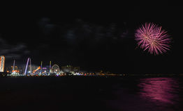 Coney Island Beach Fireworks Stock Image