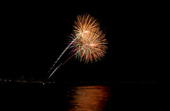 Coney Island Beach Fireworks Stock Images