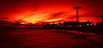 Coney Island Beach in New York City royalty free stock photo