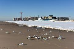 Coney Island Beach with Snow Stock Photo