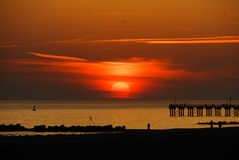 Coney Island Beach Sunset royalty free stock photos